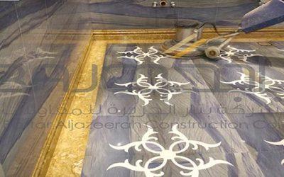 تشطيب حمام رخام ازرق بركاني قصر الموسى