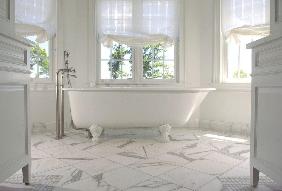 ارضيات حمام من الرخام الابيض