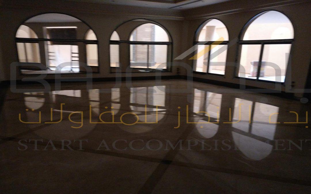جلي الرخام في فيلا الشيخ عبد الله العلي