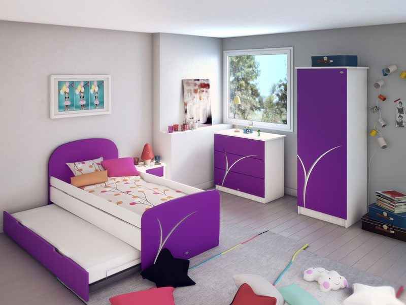 chambre enfant gigogne fille iris blanc et violet. Black Bedroom Furniture Sets. Home Design Ideas