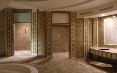 تشطيب رخام امبرادور غرفة صحية في قصر خاص