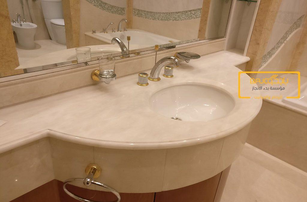 تصميم وتركيب مغسلة رخام ابيض في قصر خاص