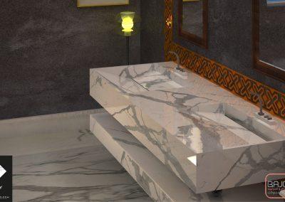 تصميم مغسلة من رخام الستتواريو ابيض بحوضين شلال