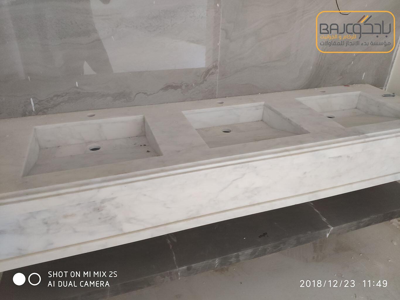 تفصيل وتركيب مغاسل رخام بحوض شلال (1)
