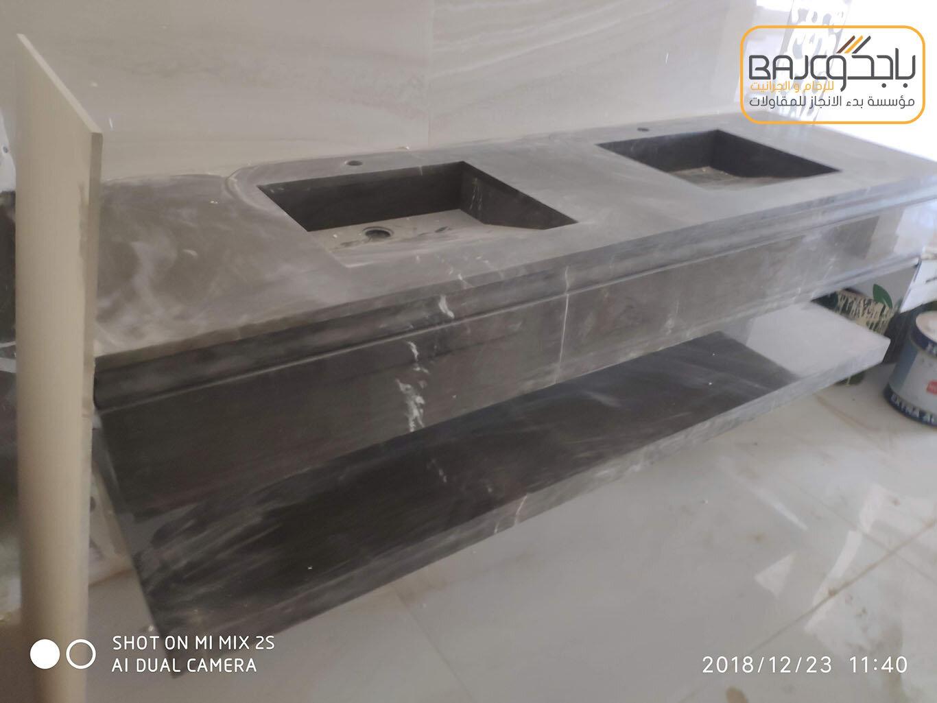 تفصيل وتركيب مغاسل رخام بحوض شلال (5)