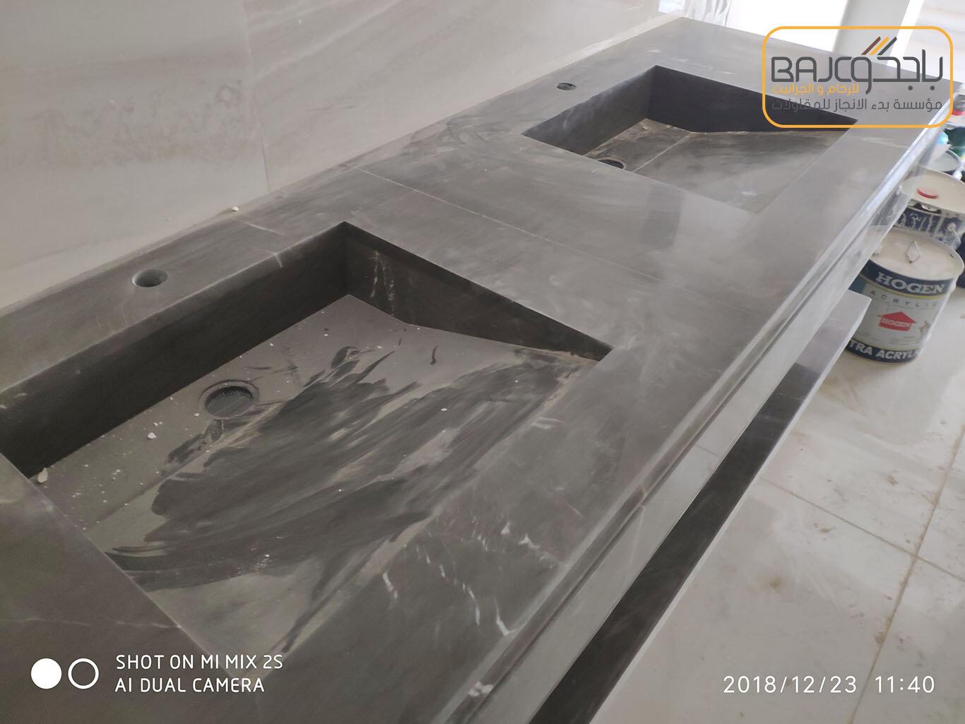 تفصيل وتركيب مغاسل رخام بحوض شلال (6)