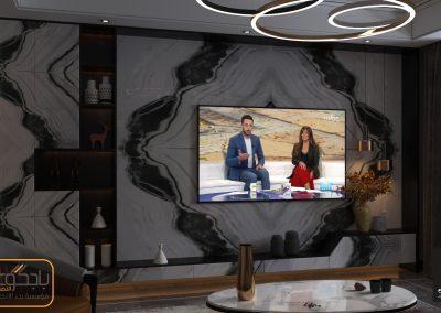 تصميم خلفية تلفزيون من رخام البانده الابيض