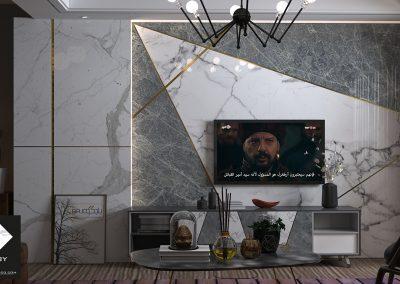 تصميم خلفية تلفزيون من رخام الستتواريو الابيض مع رخام الرمادي