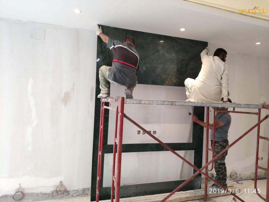 تركيب خلفية تلفزيون رخام اخضر هندي