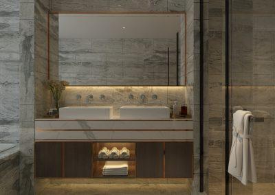 تصميم مغسلة رخام داخل الحمام الرئيسي