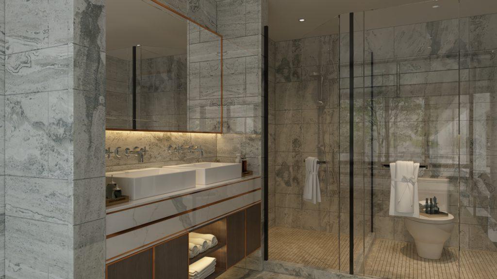 تصميم مغسلة رخام ابيض داخل الحمام