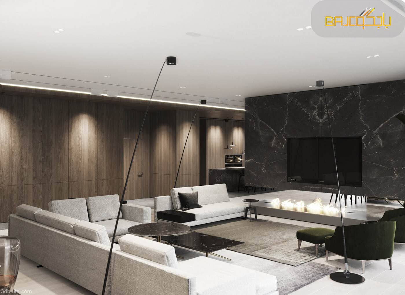 تصميم غرفة معيشة رخام رمادي