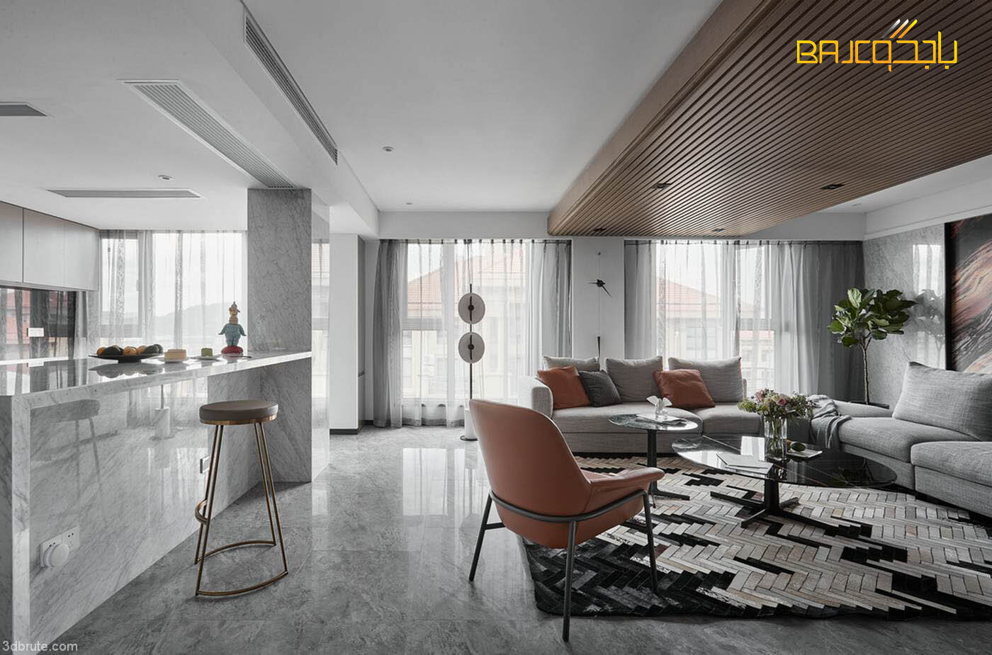 تصميم غرفة معيشة مع مطبخ امريكي