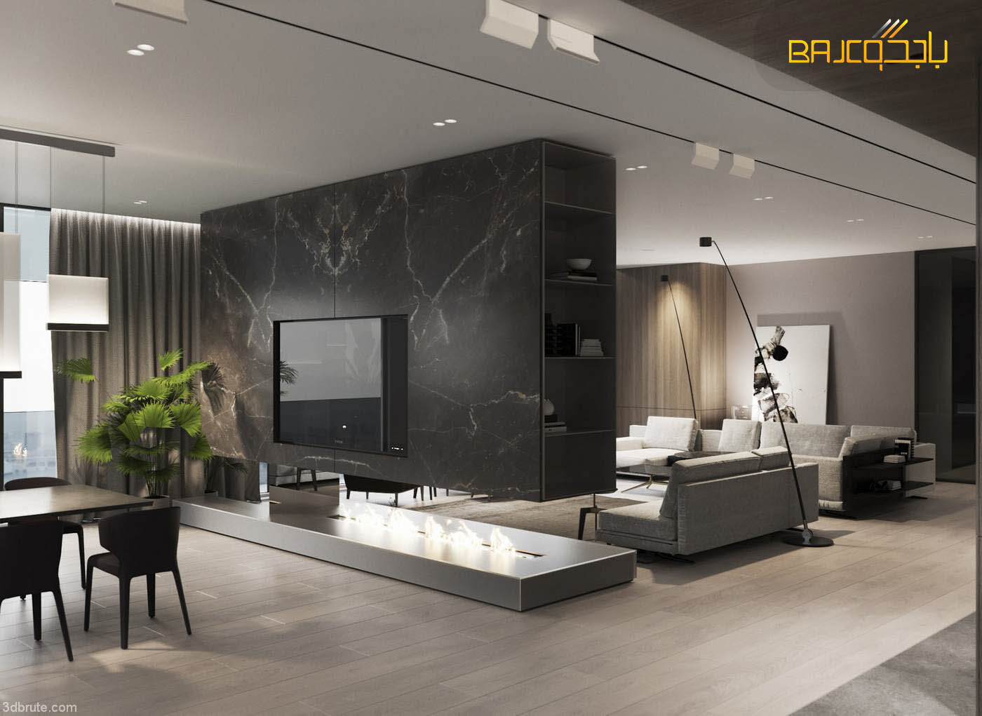غرفة معيشة رخام رمادي