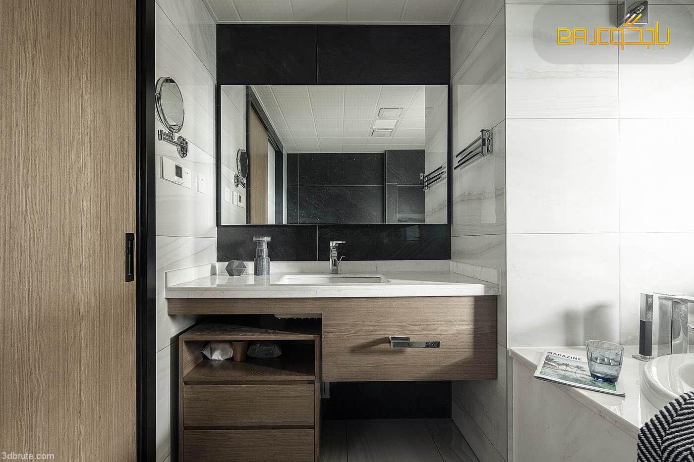 مغسلة داخل الحمام خشب ورخام