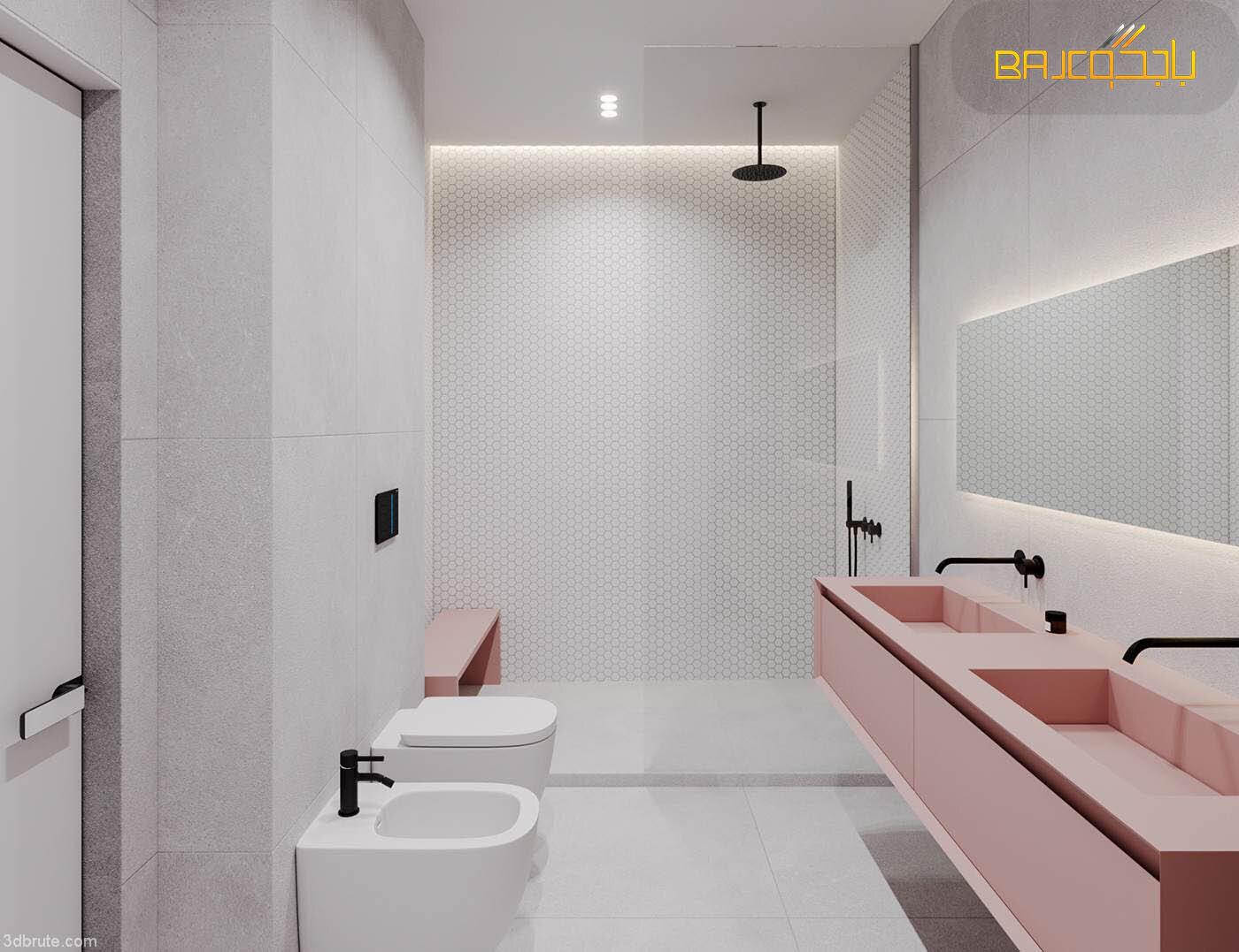 مغسلة داخل الحمام رخام صناعي حوضين