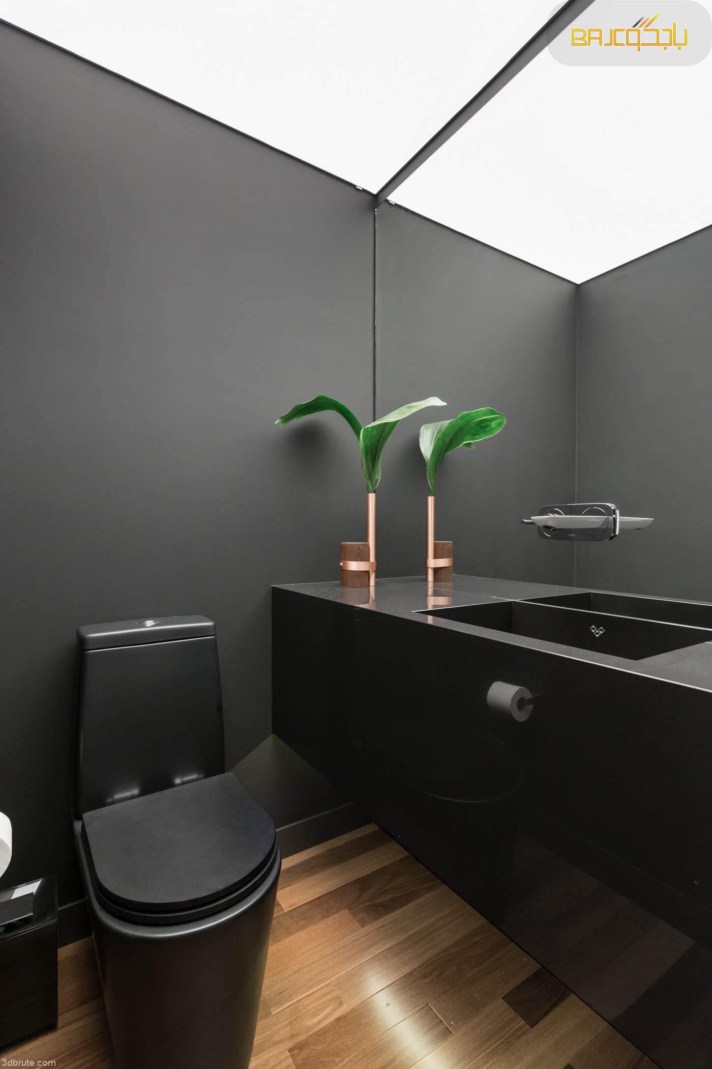 مغسلة داخل الحمام من الرخام الرمادي