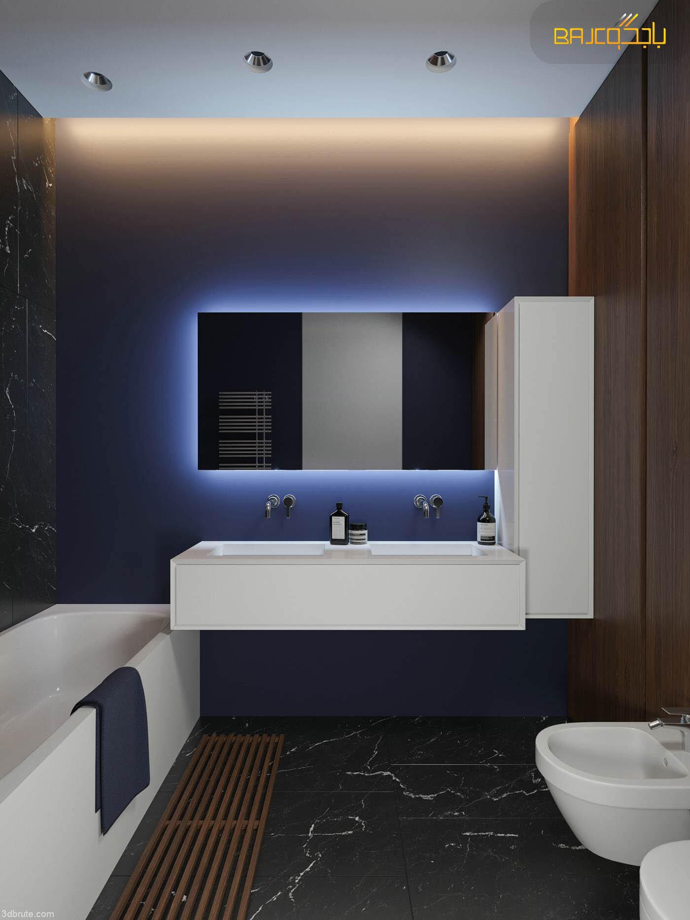 مغسلة رخام ابيض داخل الحمام