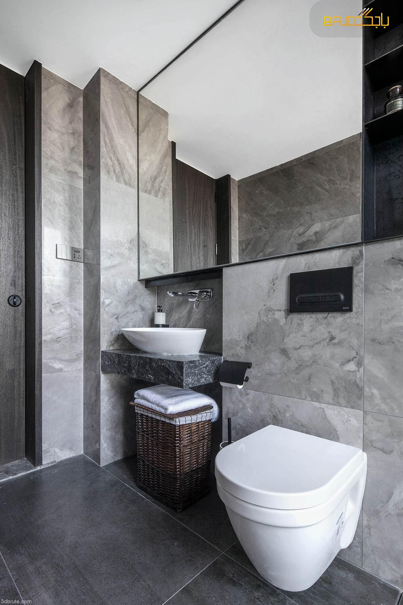 مغسلة رخام داخل الحمام حوض واحد
