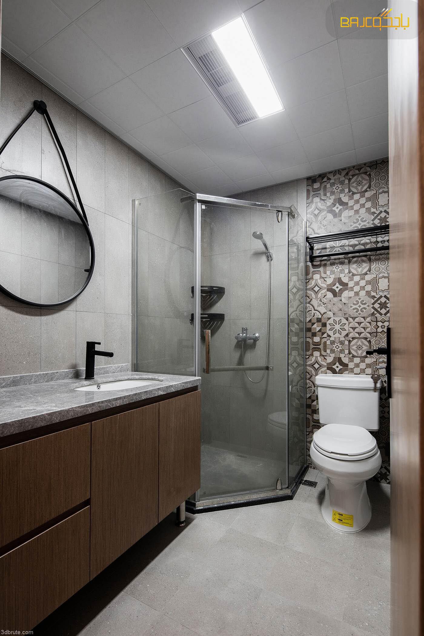 مغسلة رخام داخل الحمام مع خشب