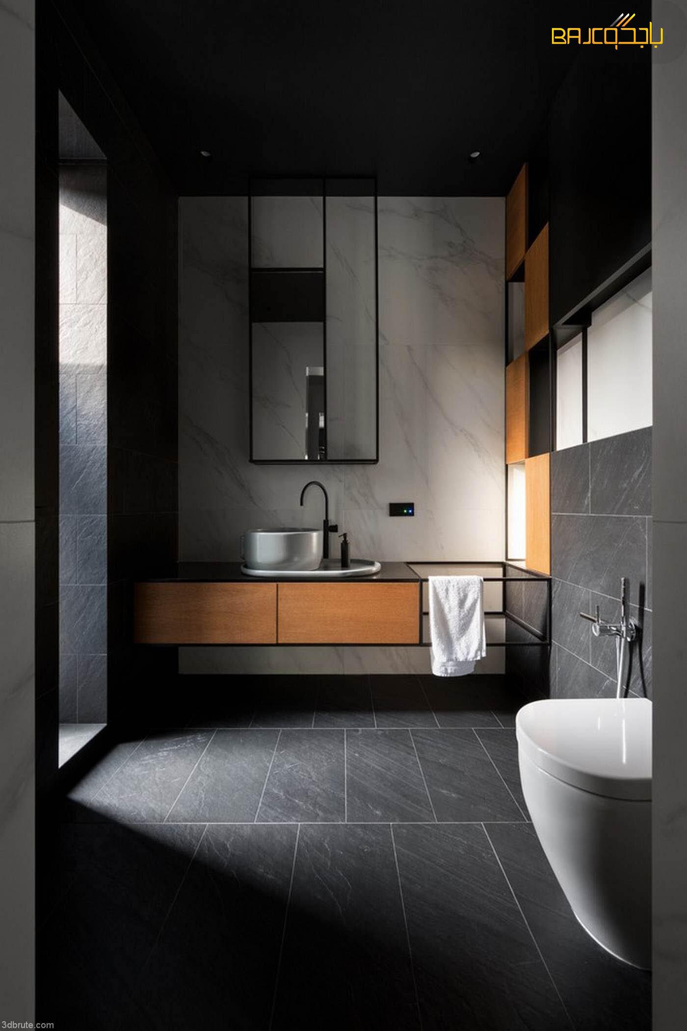 مغسلة داخل الحمام مع خشب