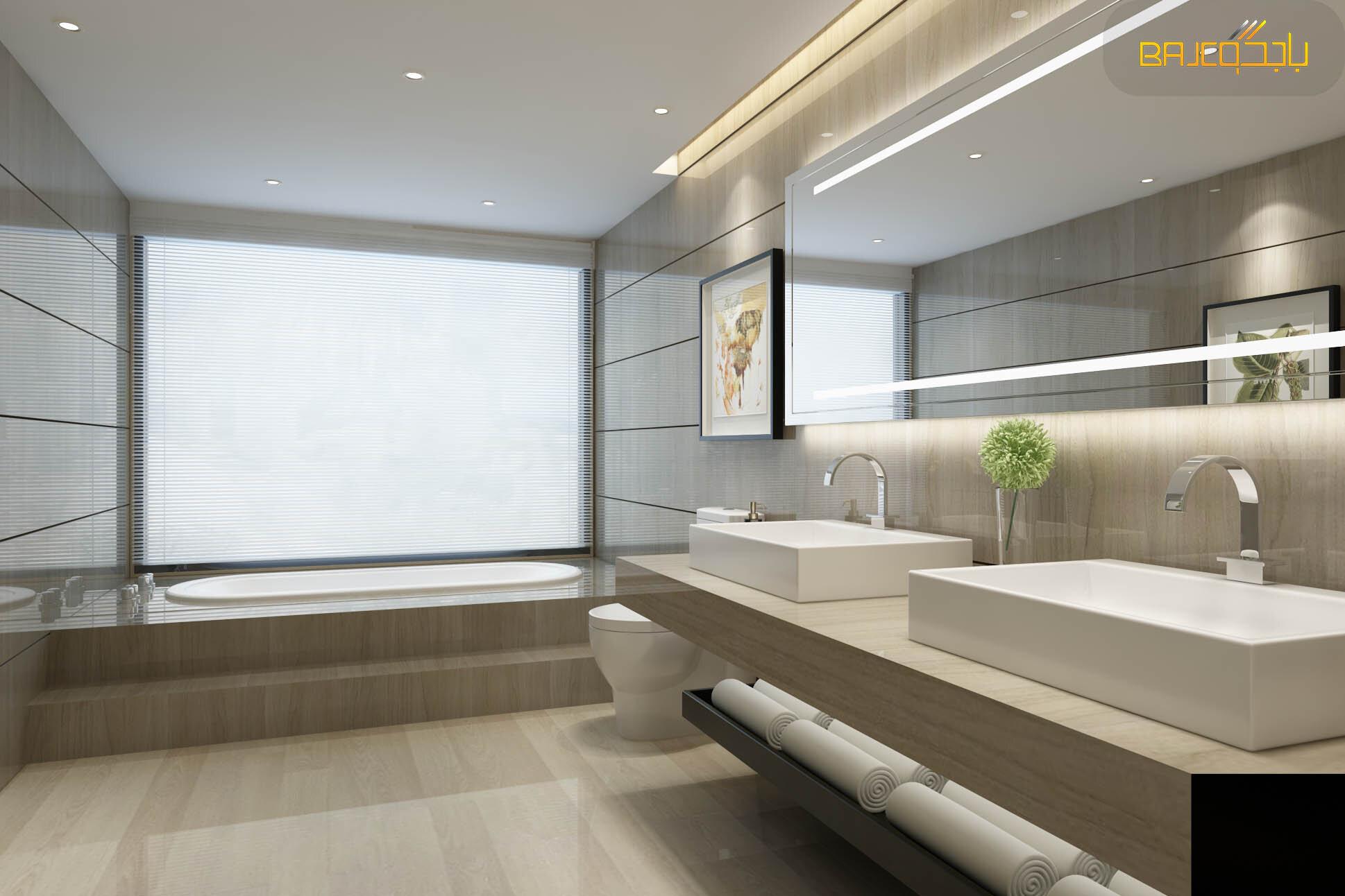 مغسلة من رخام كريم مع احواض خارجية داخل الحمام