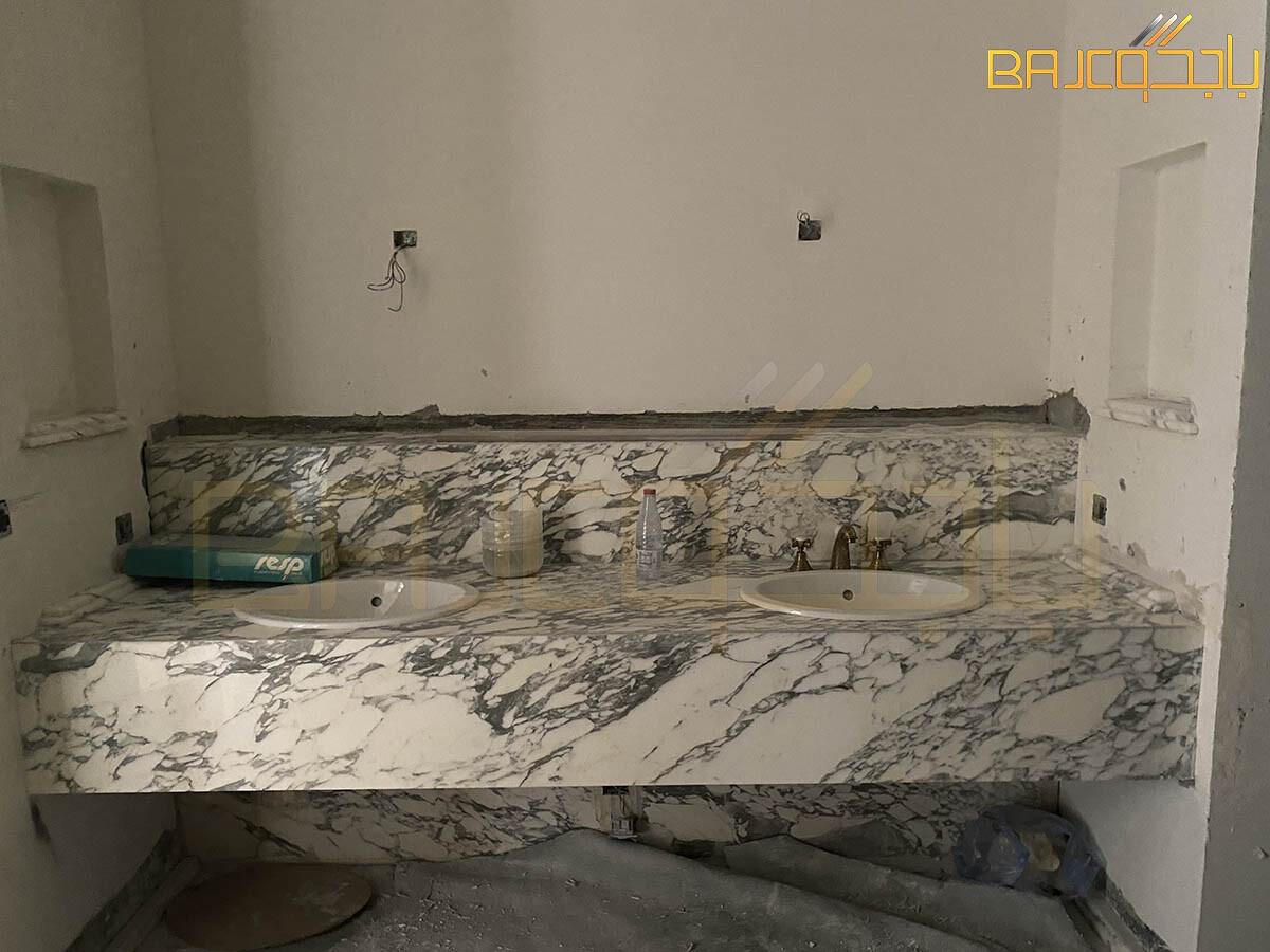 مغسلة رخام اربسكاتو حوضين ايطالي