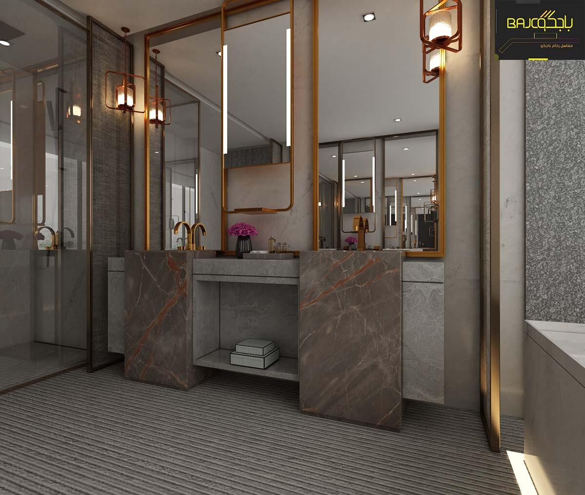 تصميم مغسلة رخام داخل الحمام 1