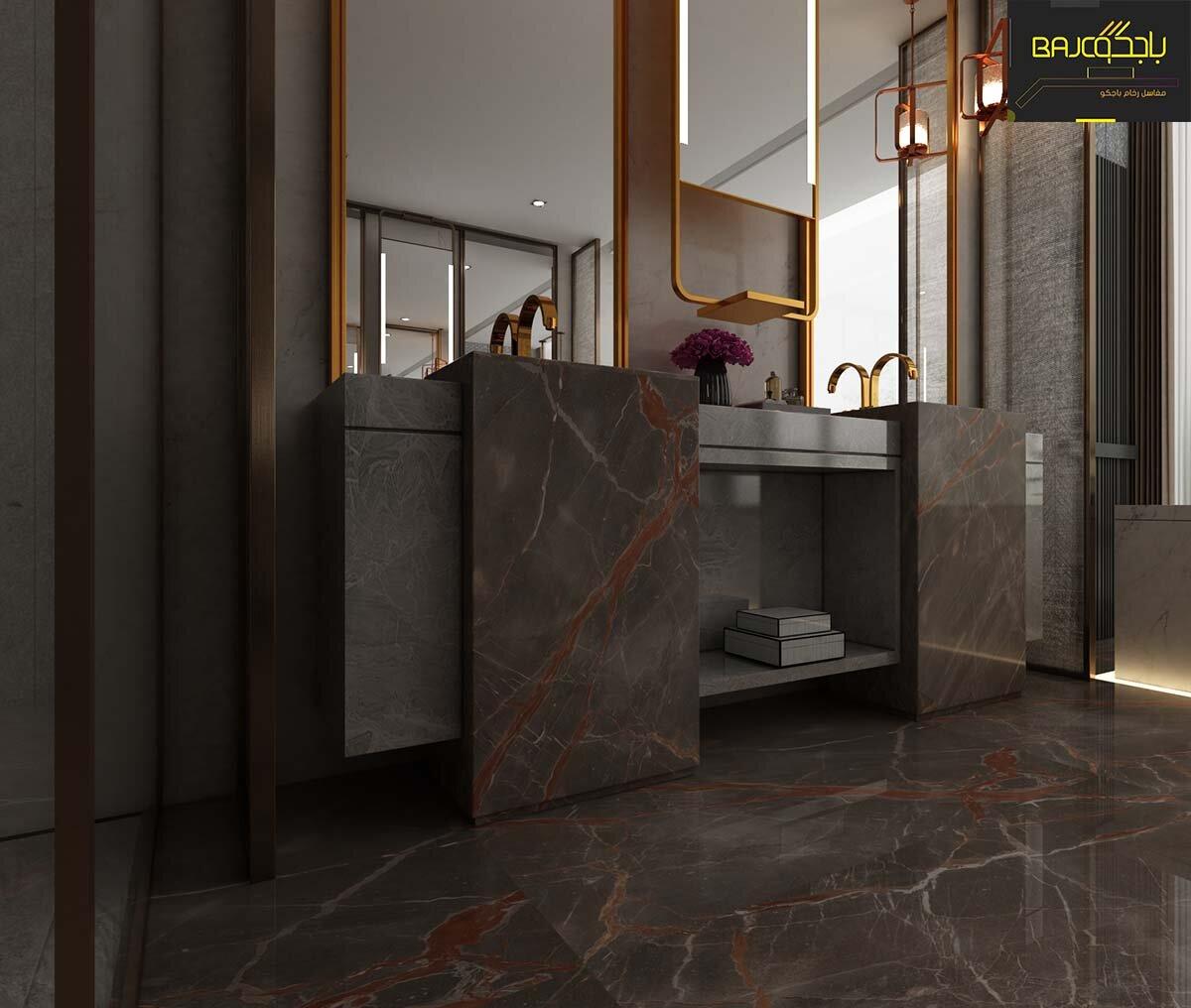 تصميم مغسلة رخام داخل الحمام
