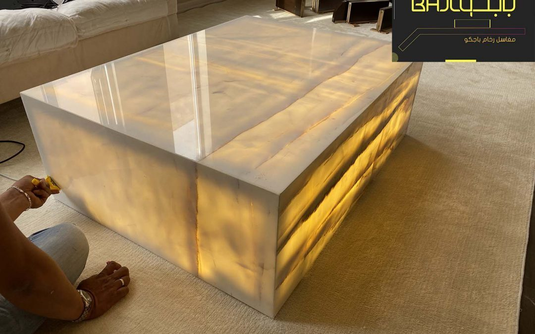 تنفيذ طاولة رخام اونيكس مع اضاءة LED