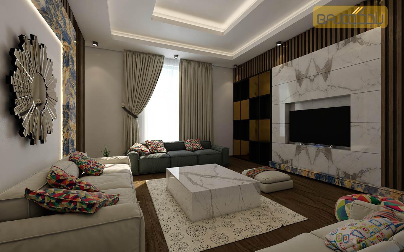 تصميم صالة معيشة مع رخام ستتواريو ايطالي ابيض 1