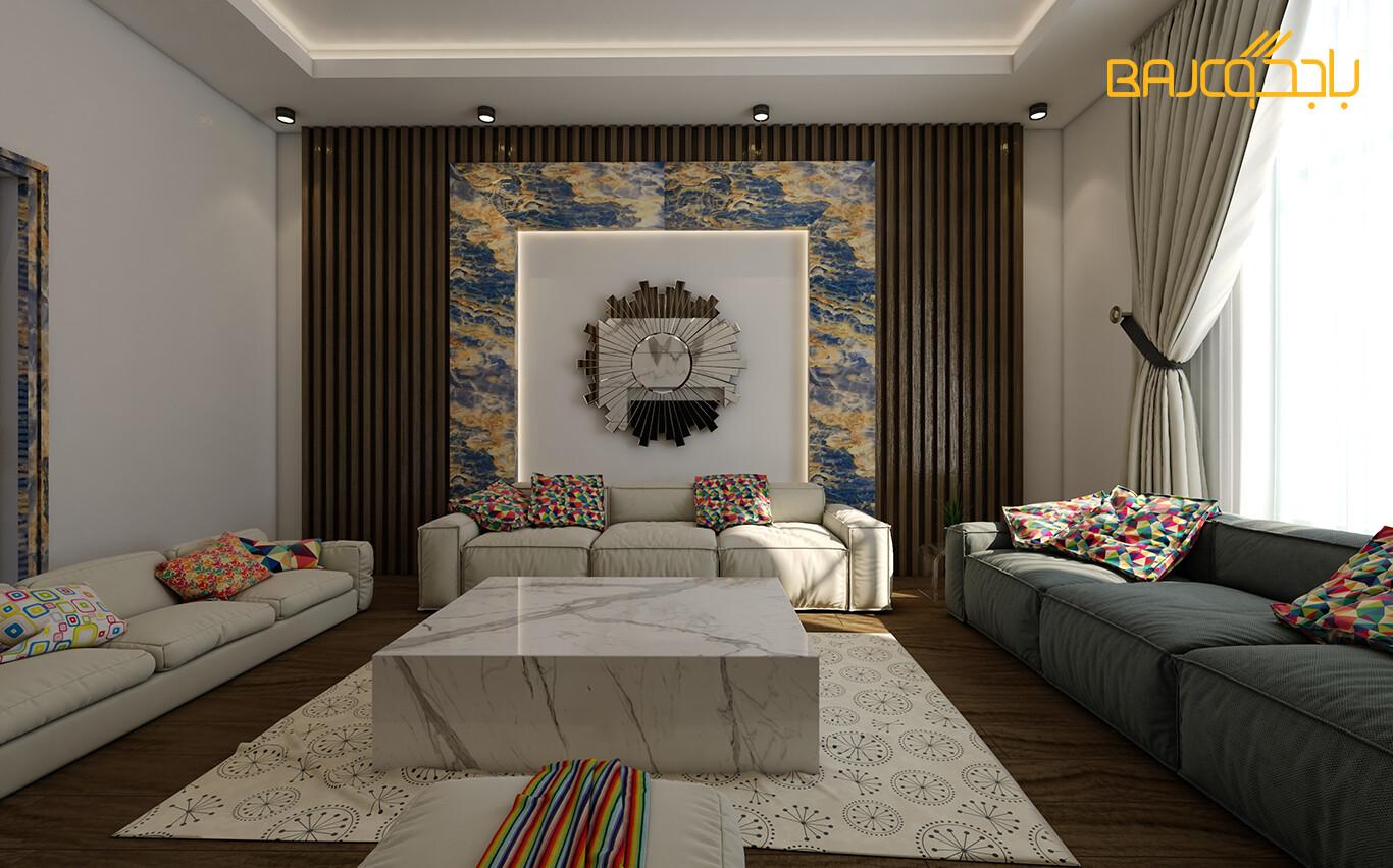 تصميم صالة معيشة مع رخام ستتواريو ايطالي ابيض 2