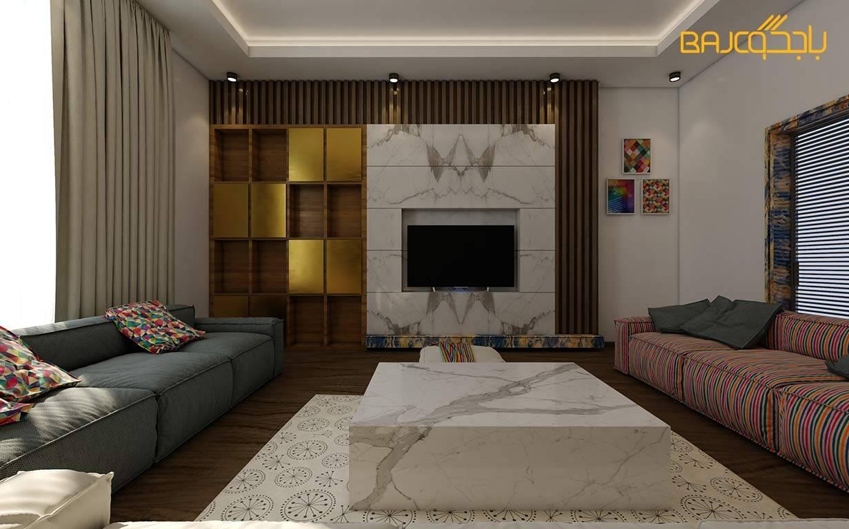 تصميم صالة معيشة مع رخام ستتواريو ايطالي ابيض 4