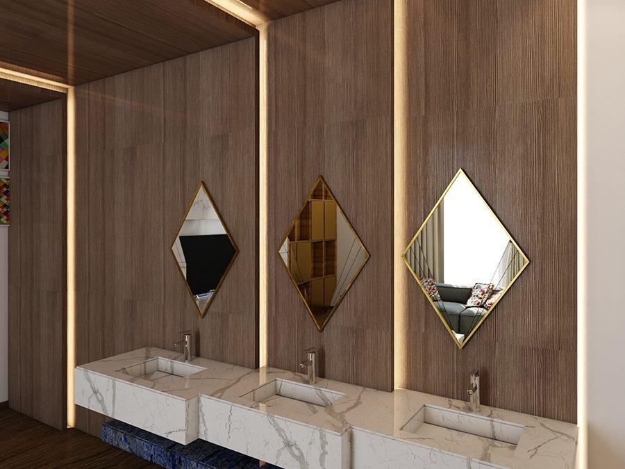 تصميم مغسلة رخام ثلاث احواض مع خلفية خشب