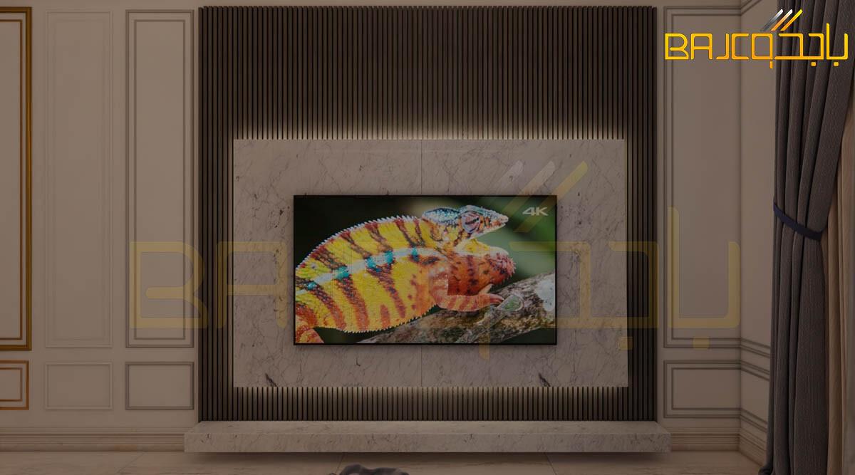 تصميم خلفية تلفزيون خشب ورخام