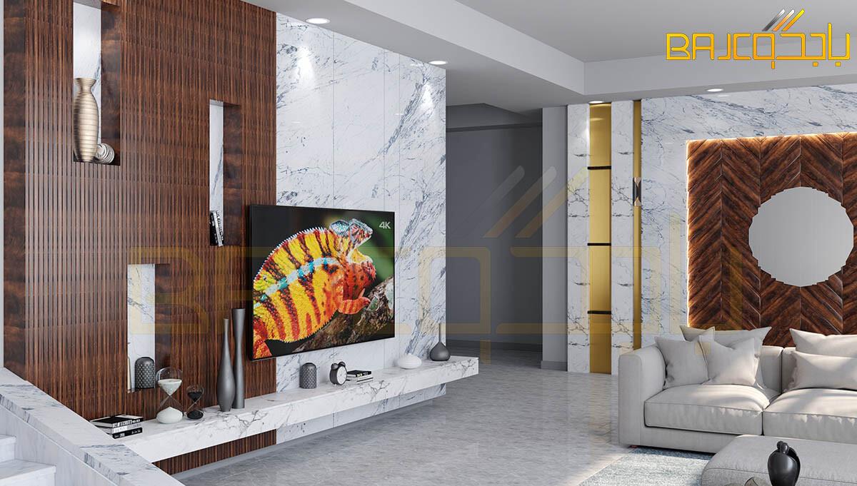 تصميم خلفية تلفزيون رخام وخشب