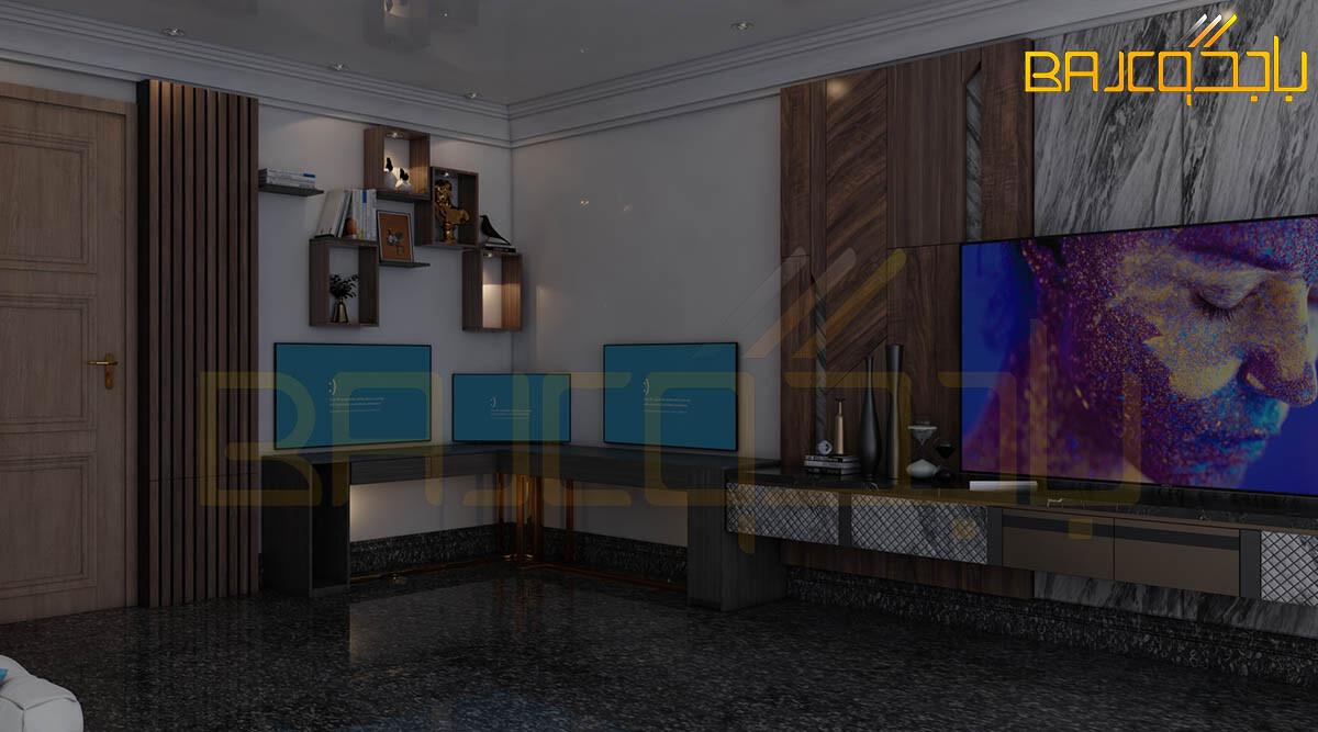 تصميم خلفية تلفزيون مع مكتب رخام وخشب