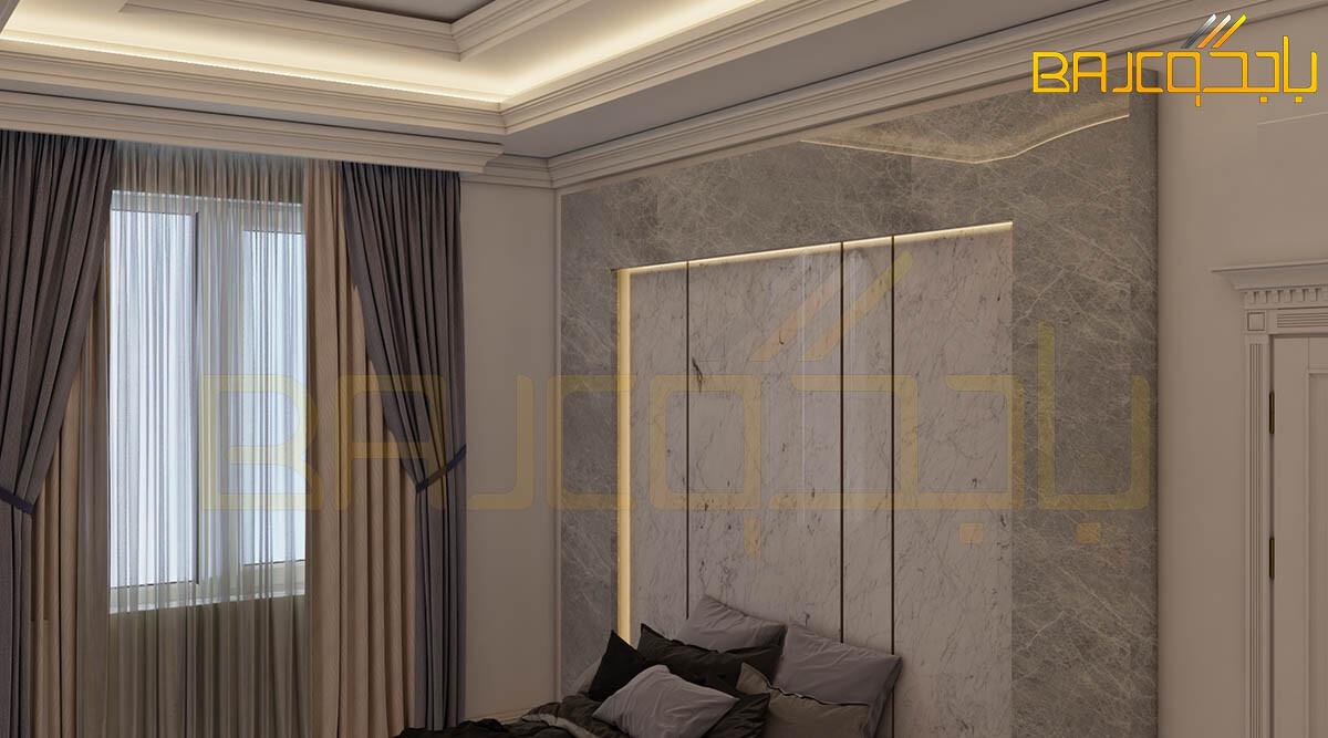 تصميم خلفية سرير رخام وخشب