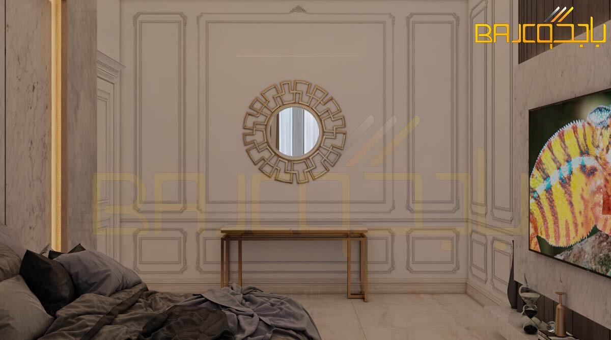 تصميم غرفة نوم مع لوحة تلفزيون