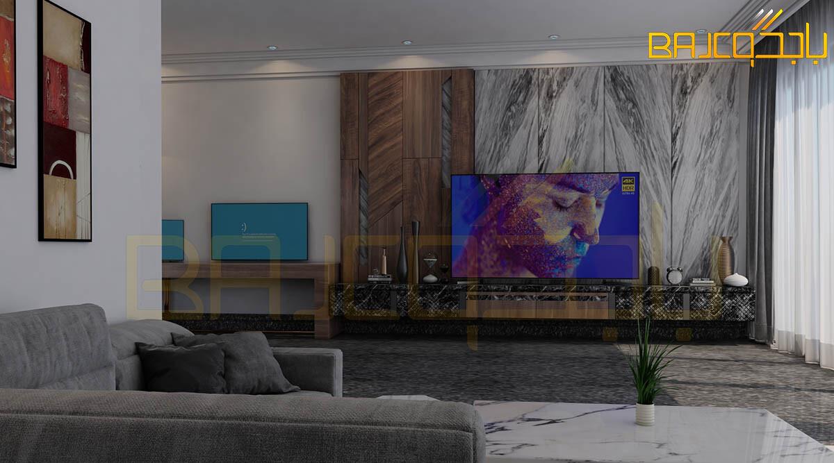 تصميم لوحة تلفزيون خشب ورخام