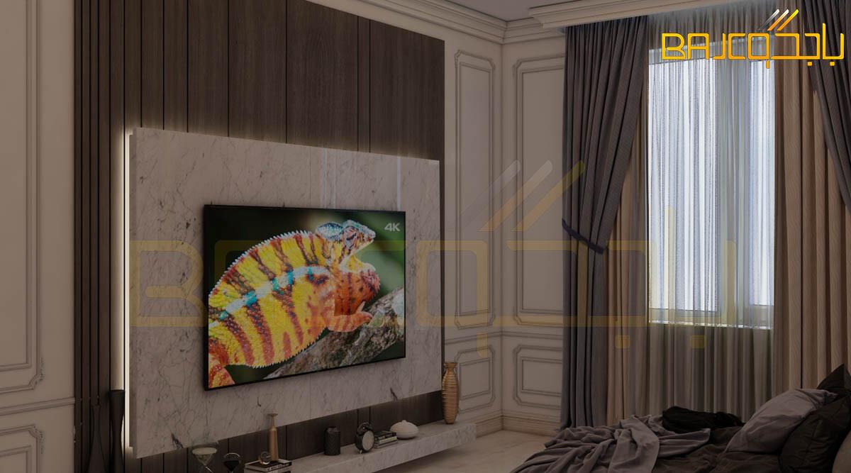 تصميم لوحة تلفزيون رخام وخشب مع الاضاءة