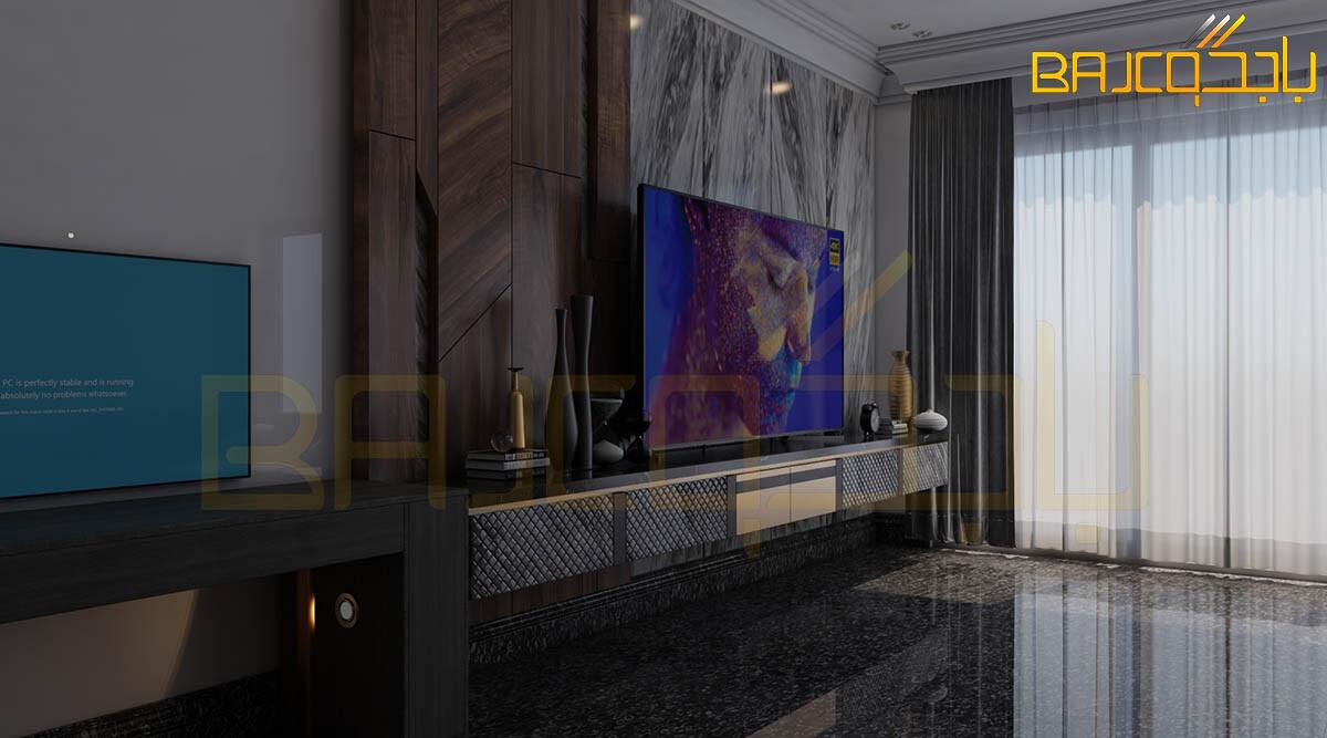 تصميم وتنفيذ خلفية تلفزيون خشب ورخام مودرن