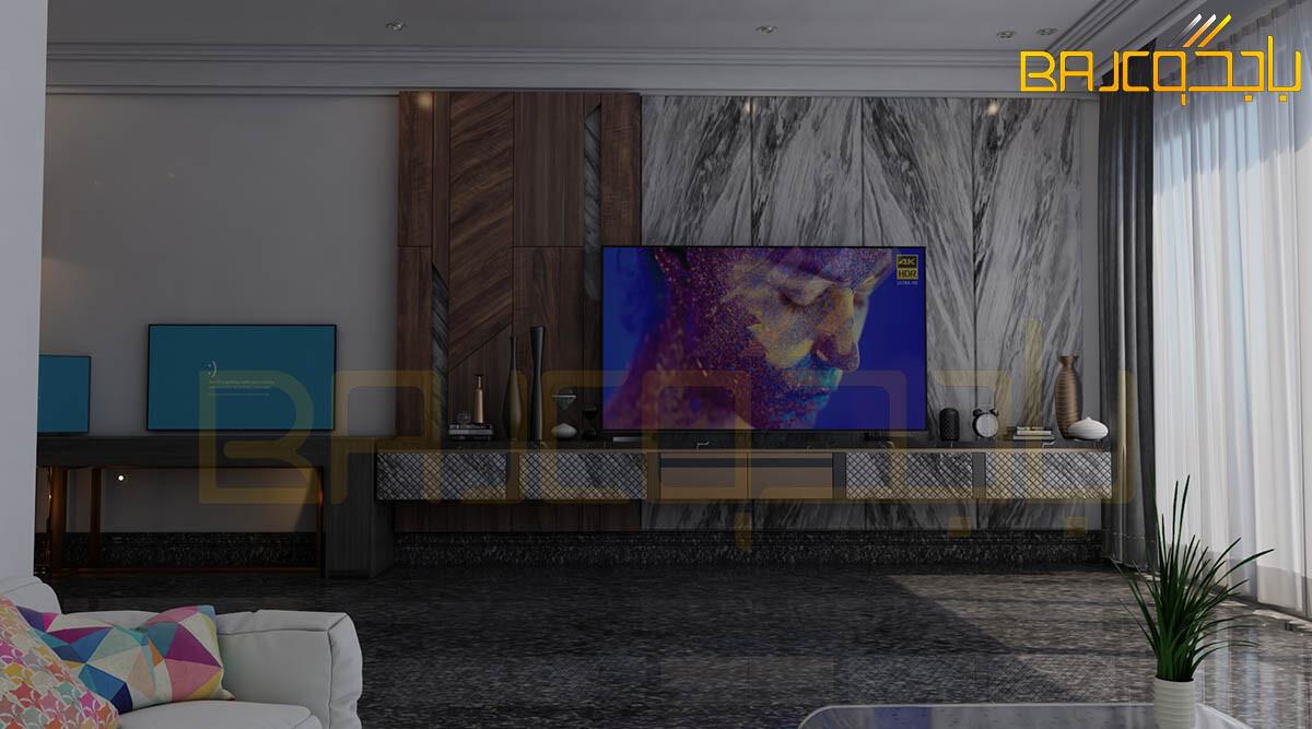 تصميم وتنفيذ خلفية تلفزيون رخام وخشب