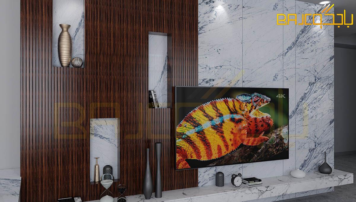 خلفية تلفزيون رخام وخشب