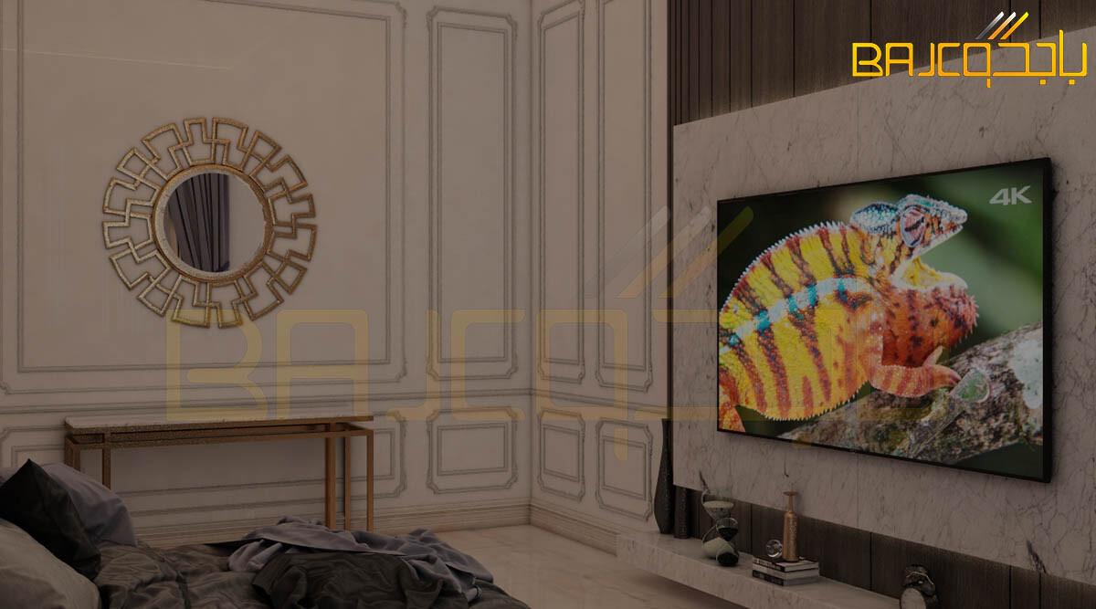 غرفة نوم مع لوحة تلفزيون