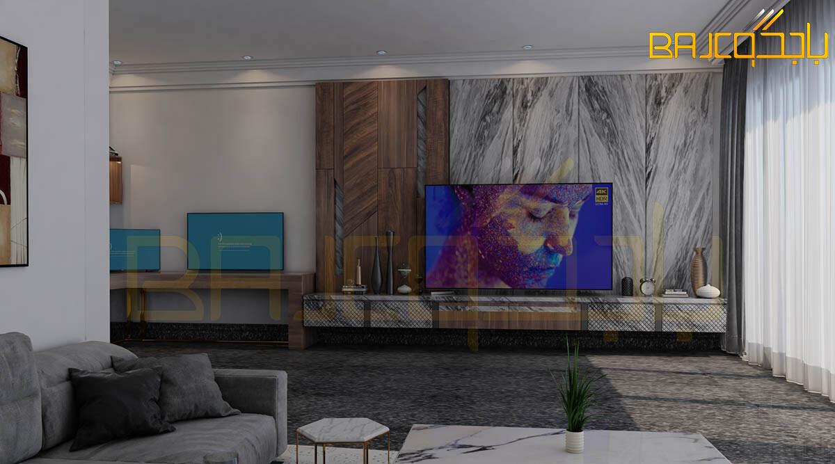 لوحة تلفزيون خشب ورخام